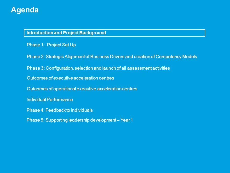 Agenda Introduction and Project Background Phase 1: Project Set Up