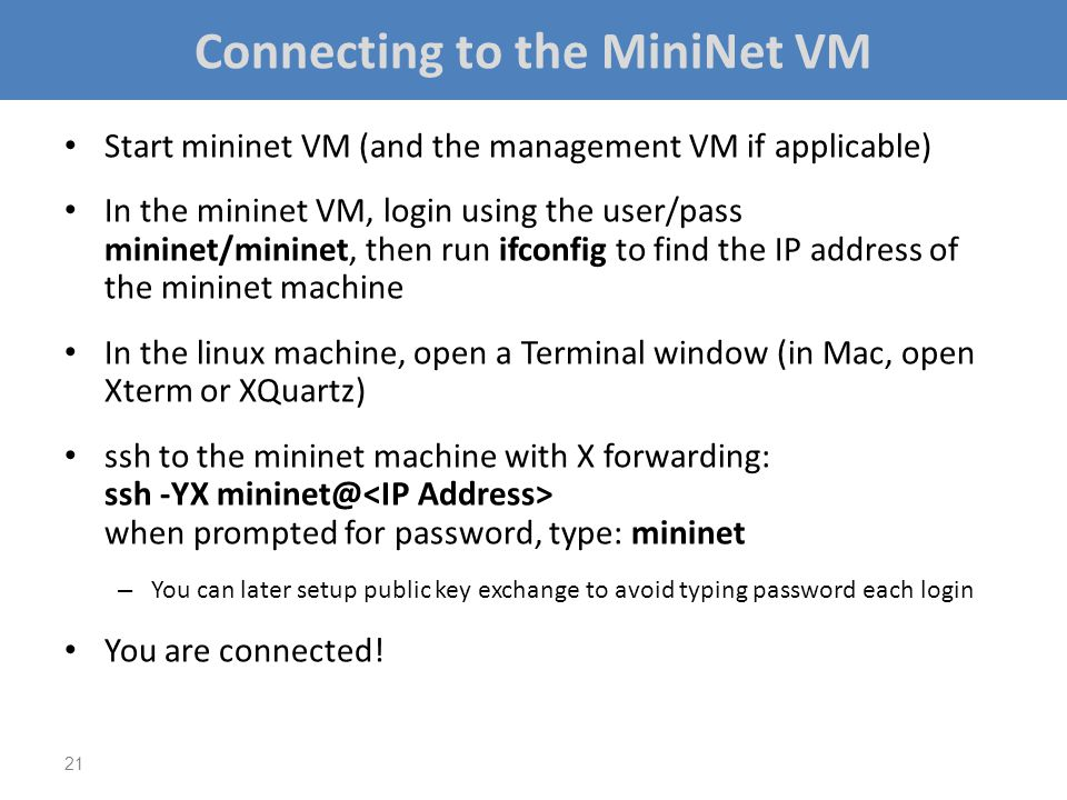 Connecting to the MiniNet VM