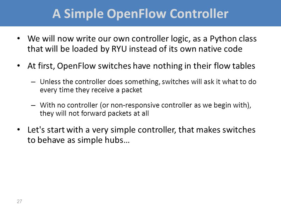 A Simple OpenFlow Controller