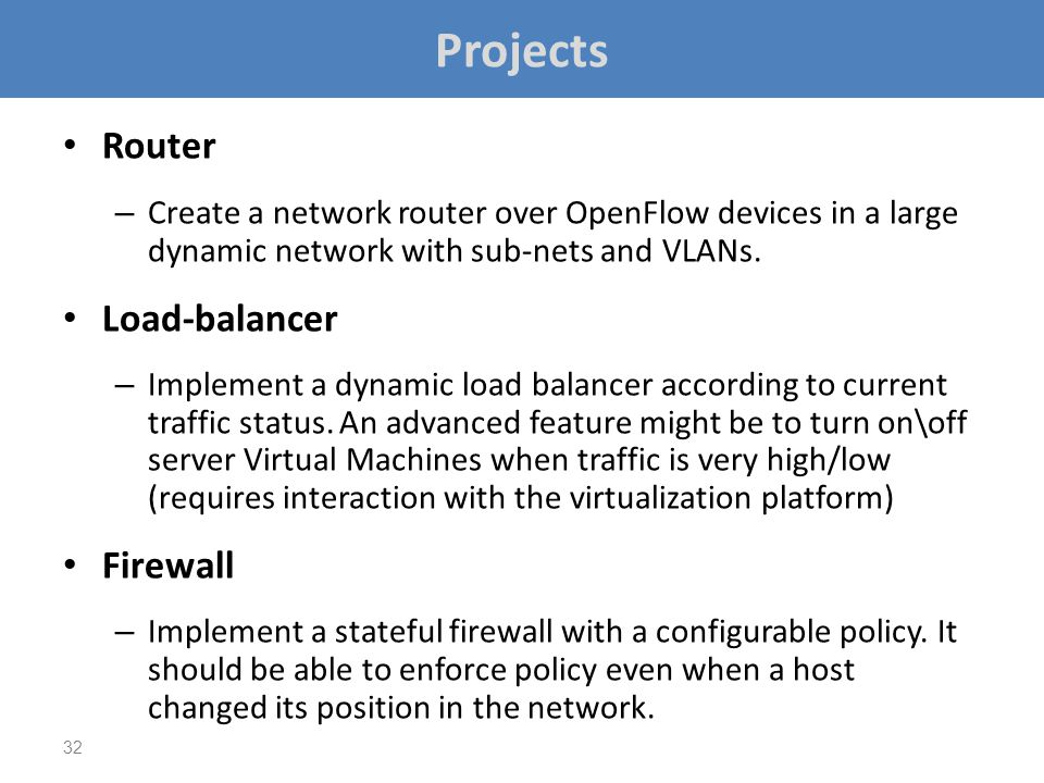 Projects Router Load-balancer Firewall