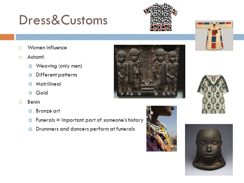 Dress&Customs Women Influence Ashanti Weaving (only men)