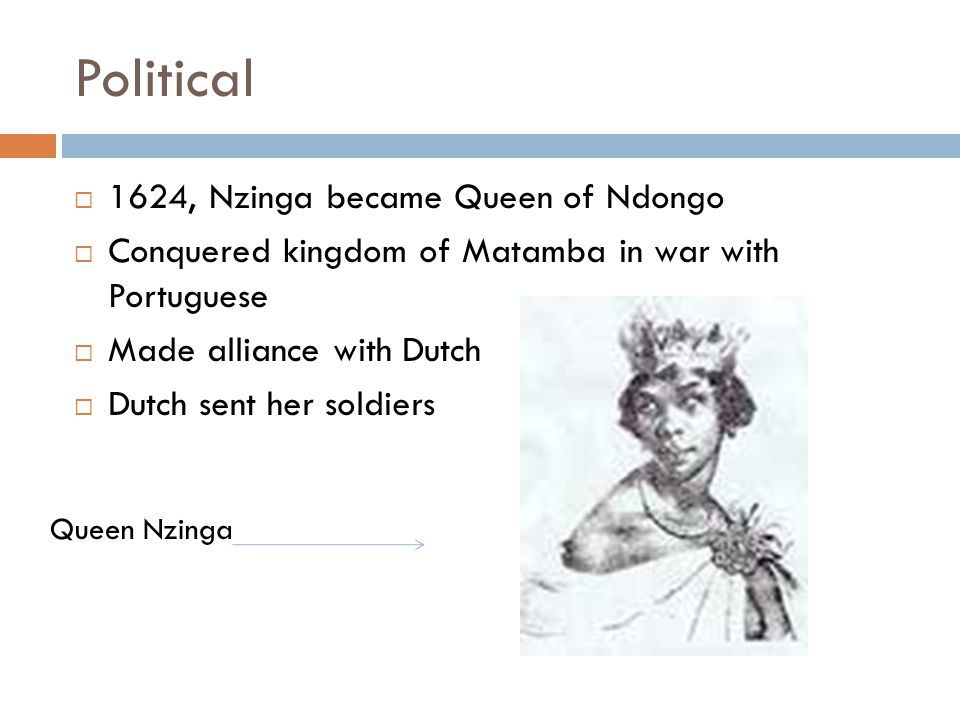 Political 1624, Nzinga became Queen of Ndongo