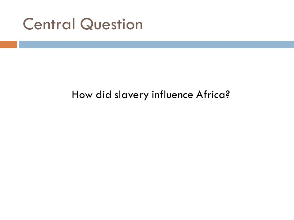 How did slavery influence Africa