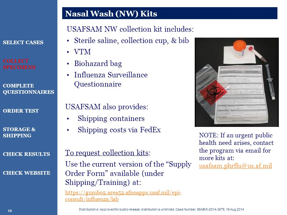 Nasal Wash (NW) Kits USAFSAM NW collection kit includes: