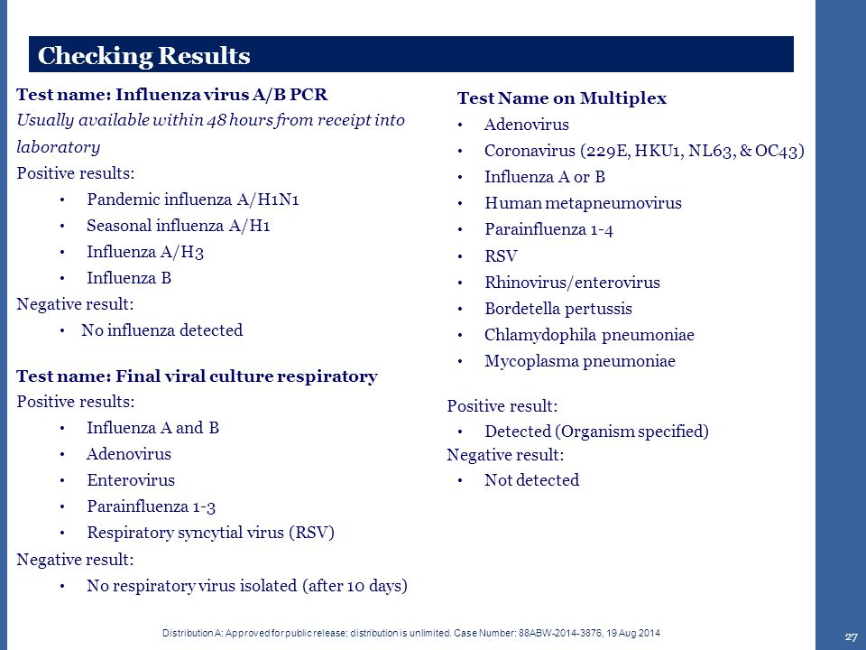 Checking Results Test name: Influenza virus A/B PCR