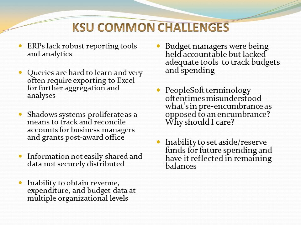 KSU COMMON CHALLENGES ERPs lack robust reporting tools and analytics.
