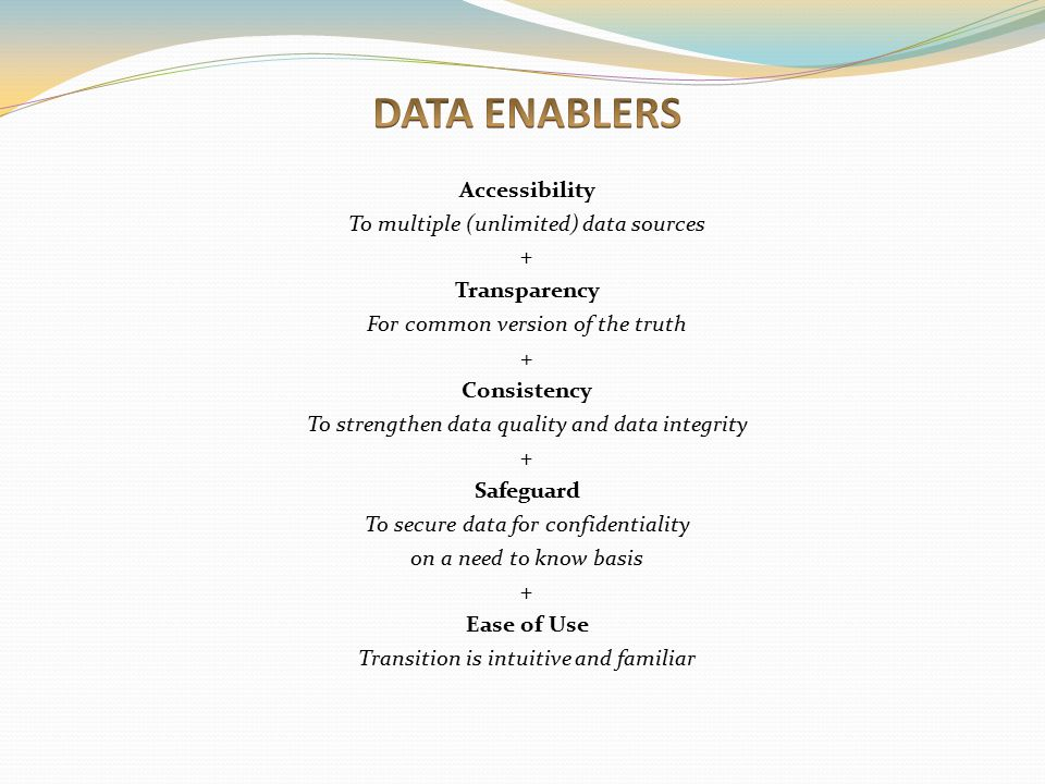 DATA ENABLERS Accessibility To multiple (unlimited) data sources +