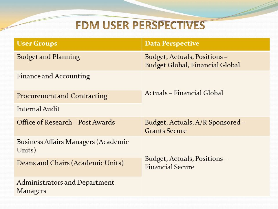 FDM USER PERSPECTIVES User Groups Data Perspective Budget and Planning