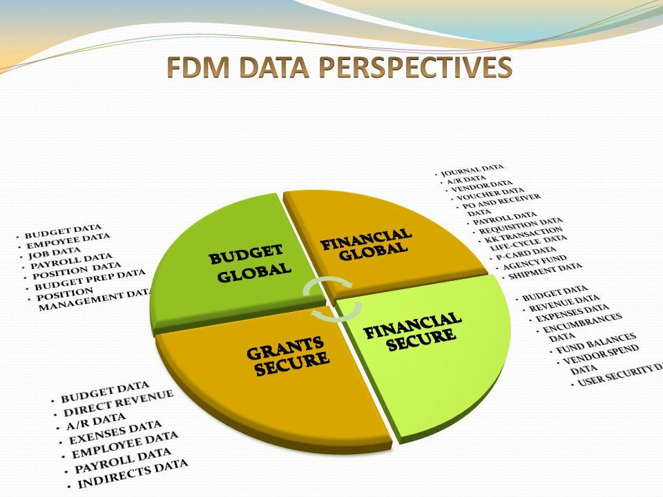 FDM DATA PERSPECTIVES BUDGET DATA EMPOYEE DATA JOB DATA PAYROLL DATA