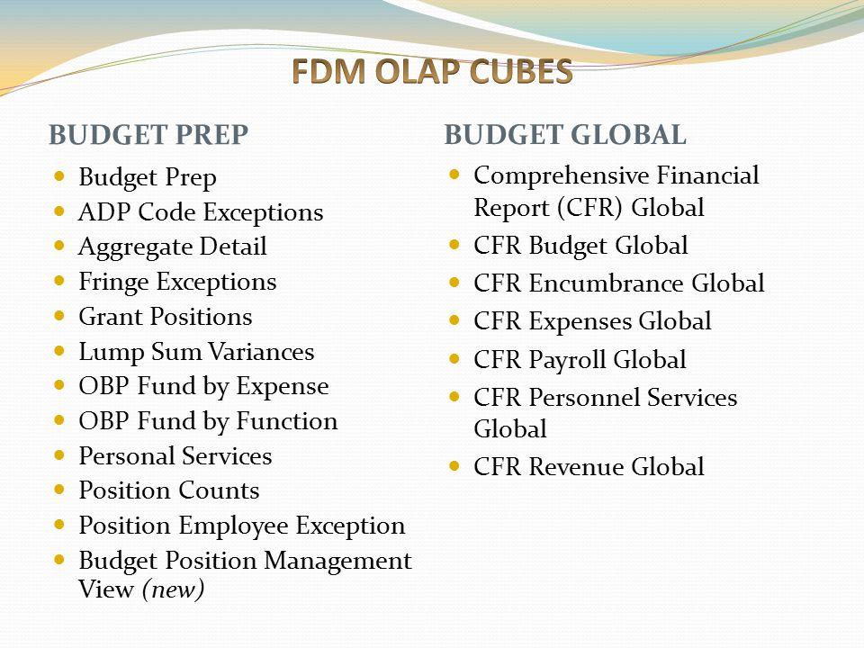 FDM OLAP CUBES BUDGET PREP BUDGET GLOBAL