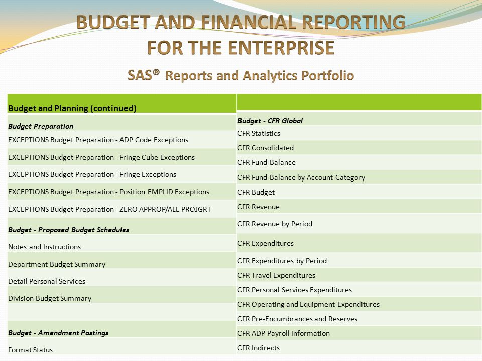 BUDGET AND FINANCIAL REPORTING FOR THE ENTERPRISE SAS® Reports and Analytics Portfolio