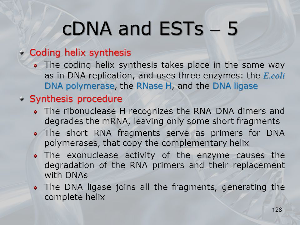 cDNA and ESTs  5 Coding helix synthesis Synthesis procedure