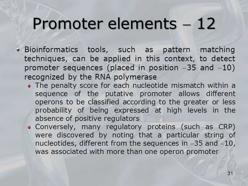 Promoter elements  12