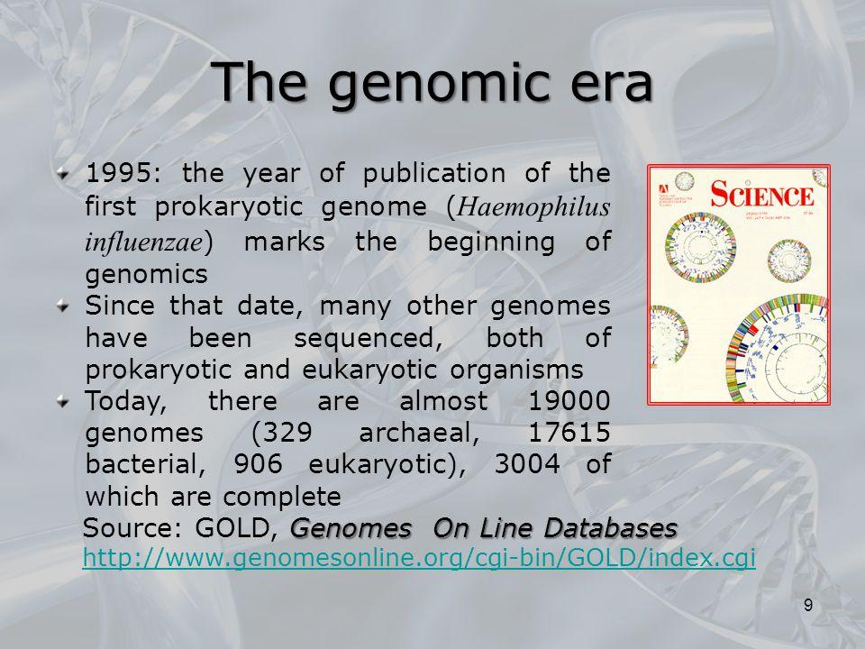 The genomic era 1995: the year of publication of the first prokaryotic genome (Haemophilus influenzae) marks the beginning of genomics.
