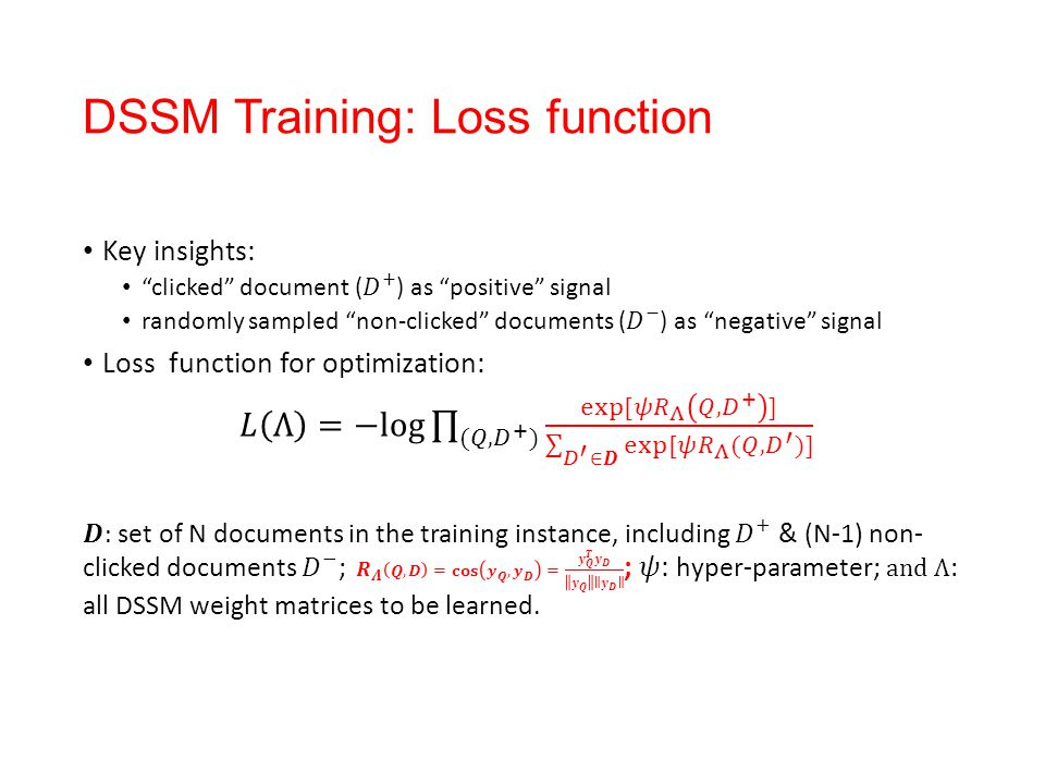 DSSM Training: Loss function