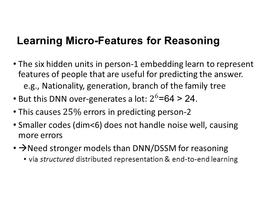 Learning Micro-Features for Reasoning