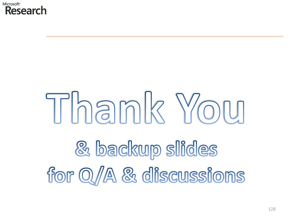 Thank You & backup slides for Q/A & discussions