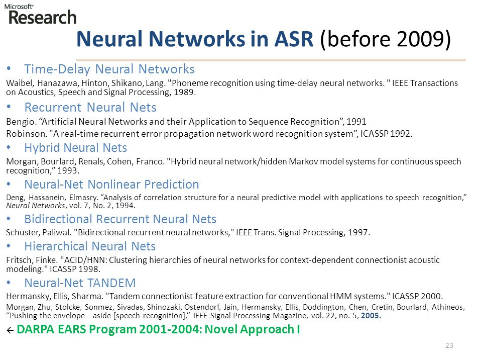 Neural Networks in ASR (before 2009)
