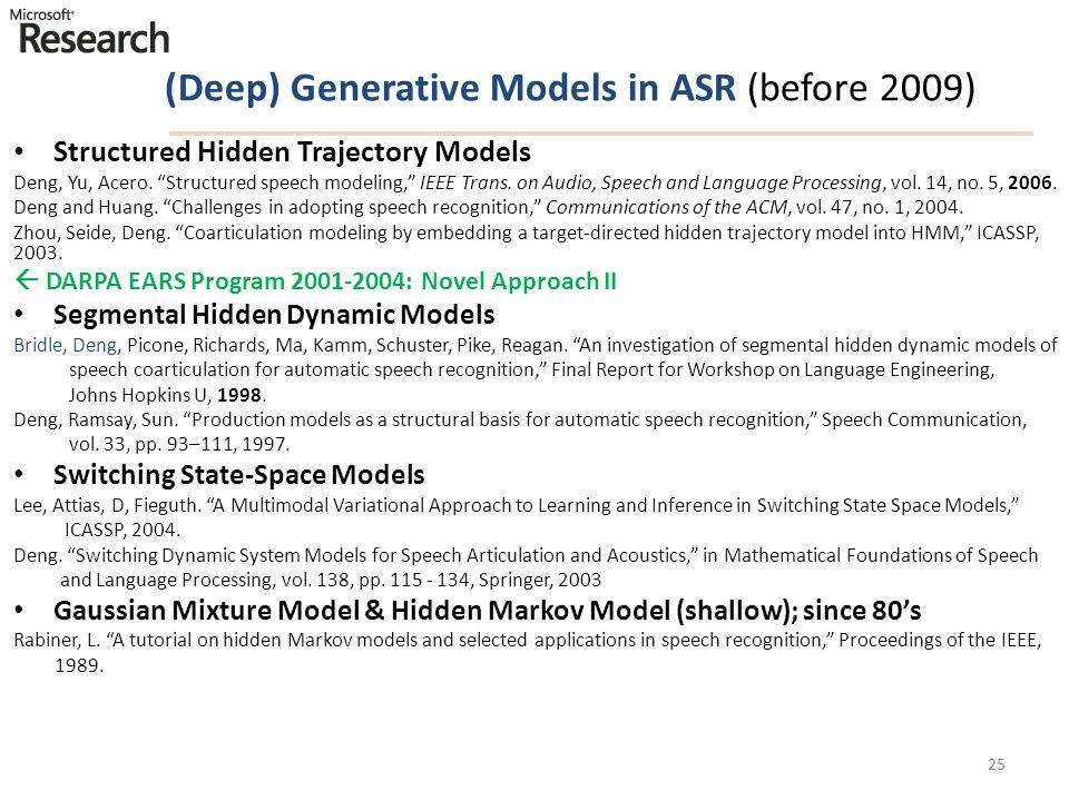 (Deep) Generative Models in ASR (before 2009)