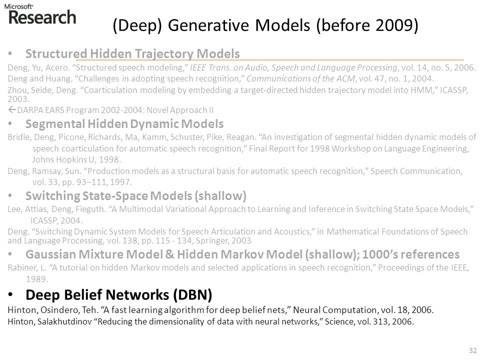 (Deep) Generative Models (before 2009)