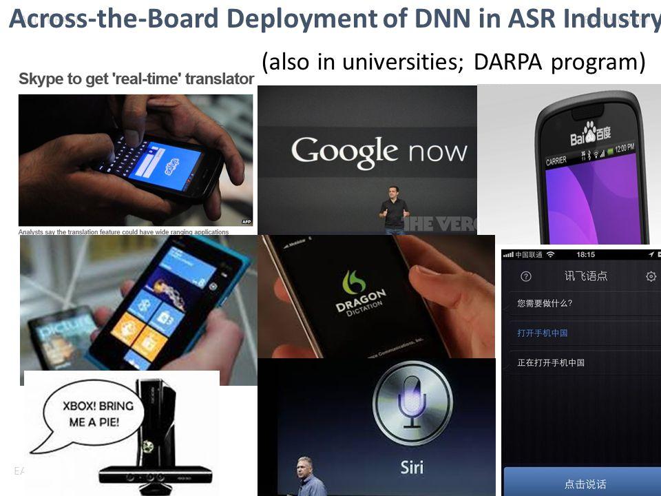 Across-the-Board Deployment of DNN in ASR Industry (also in universities; DARPA program)