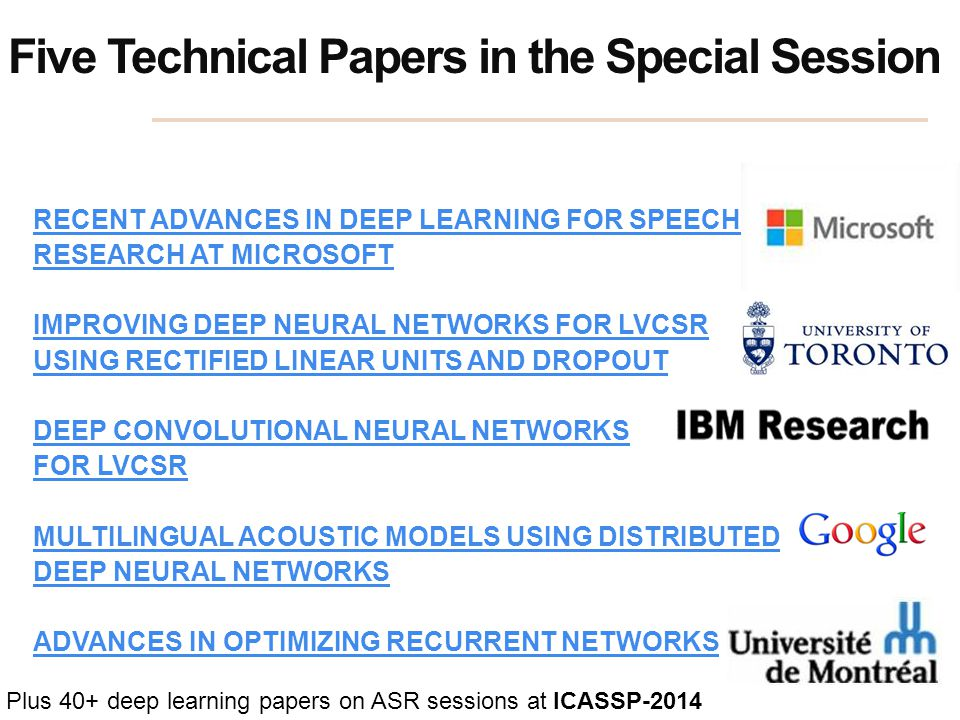 Five Technical Papers in the Special Session