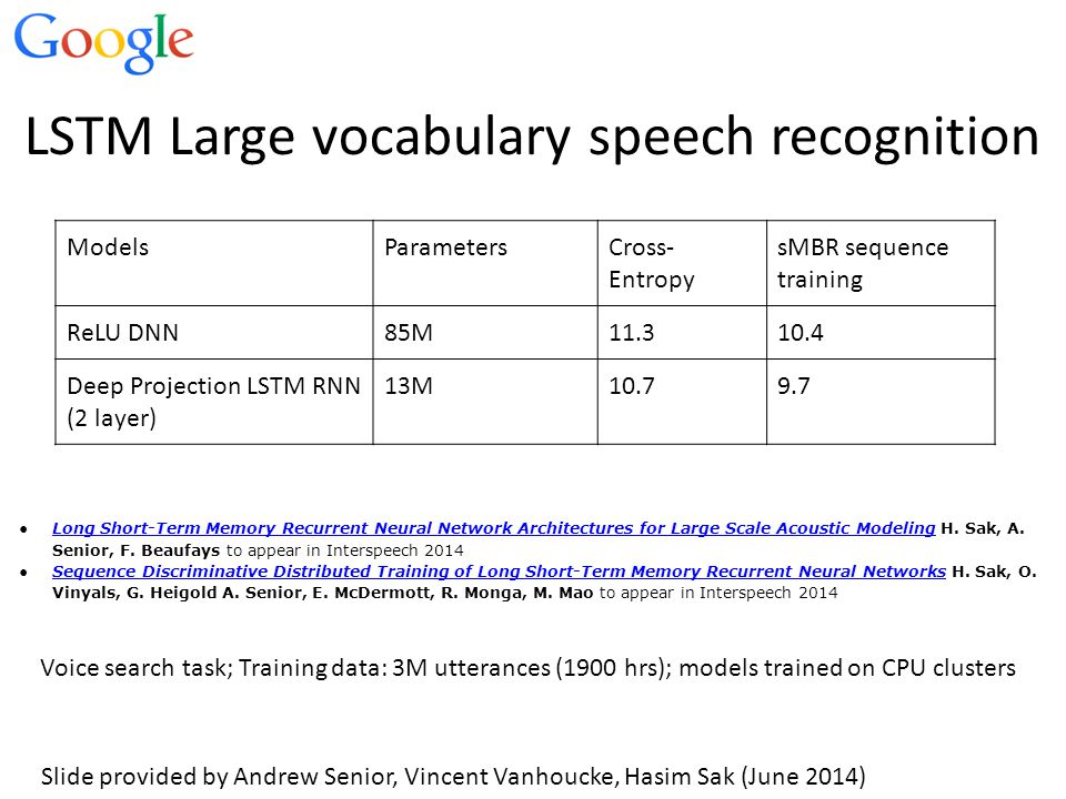 LSTM Large vocabulary speech recognition