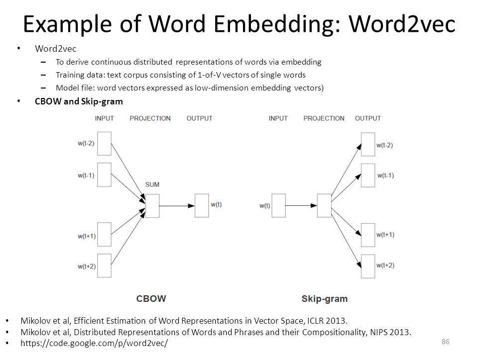 Example of Word Embedding: Word2vec