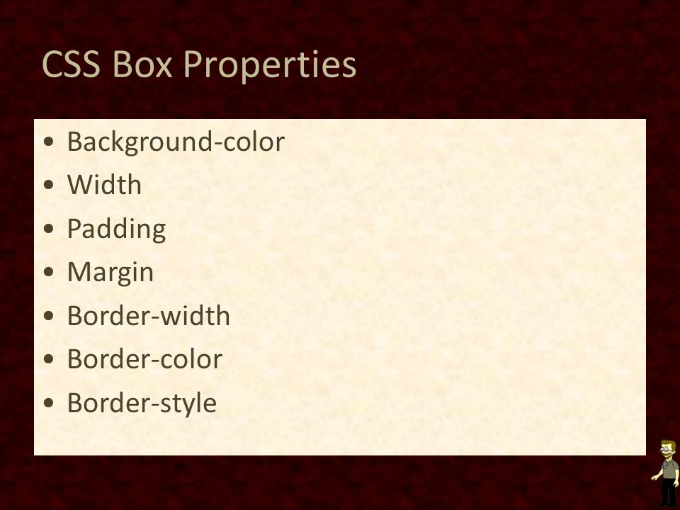 CSS Box Properties Background-color Width Padding Margin Border-width