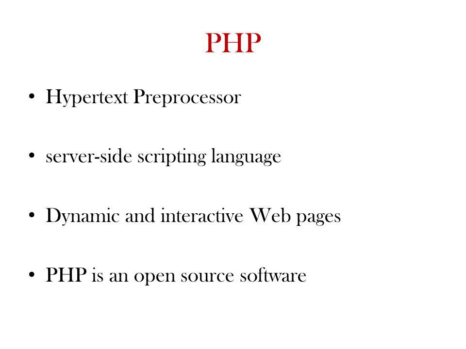 PHP Hypertext Preprocessor server-side scripting language