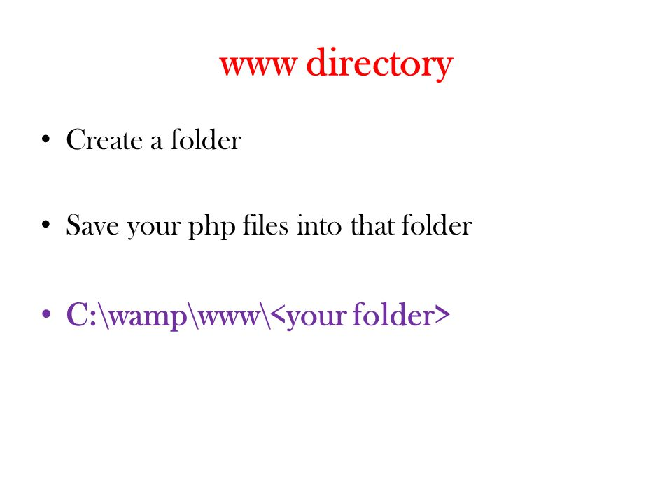www directory C:\wamp\www\<your folder> Create a folder