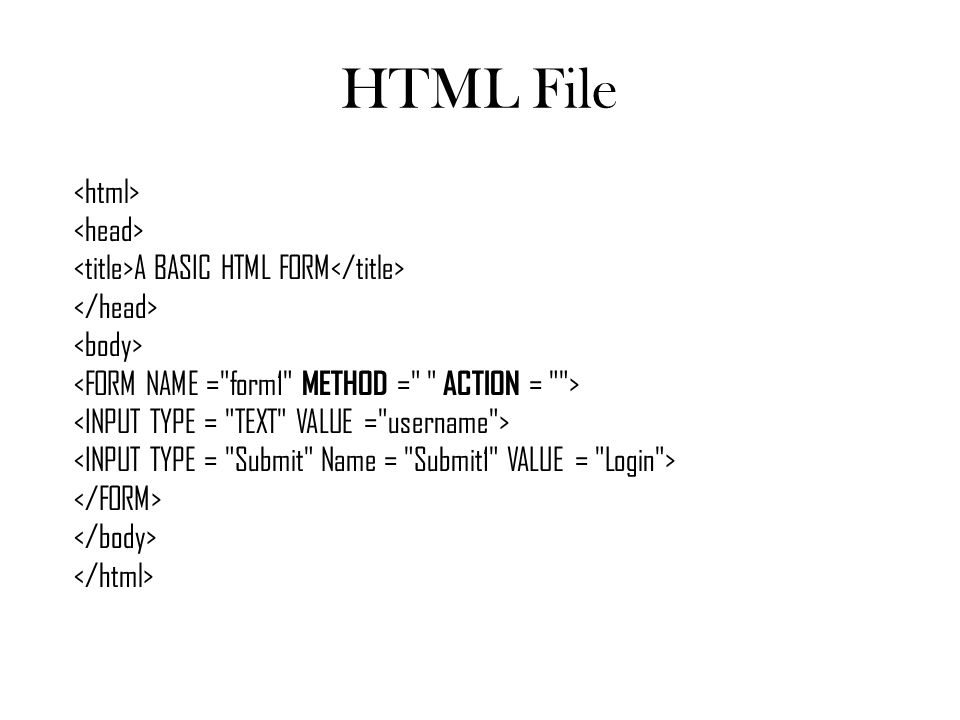 HTML File <html> <head> <title>A BASIC HTML FORM</title> </head> <body> <FORM NAME = form1 METHOD = ACTION = >