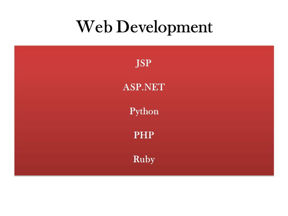 Web Development JSP ASP.NET Python PHP Ruby