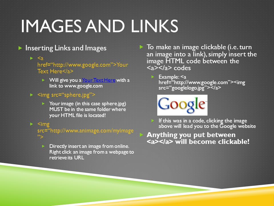 Images and links Inserting Links and Images