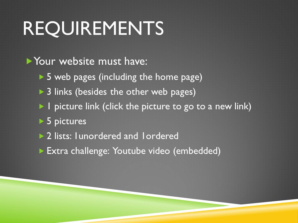 requirements Your website must have: