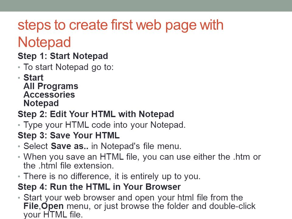 steps to create first web page with Notepad