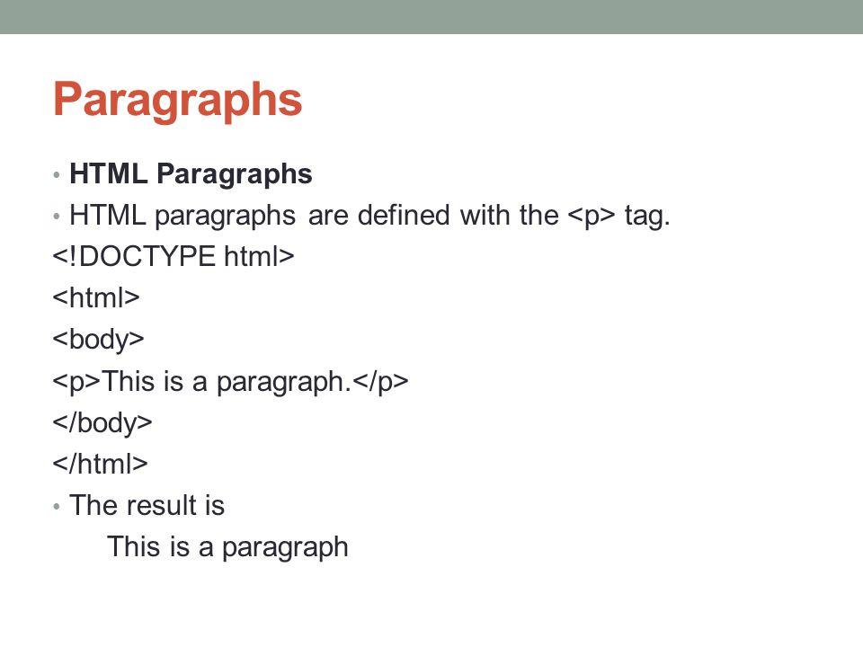 Paragraphs HTML Paragraphs