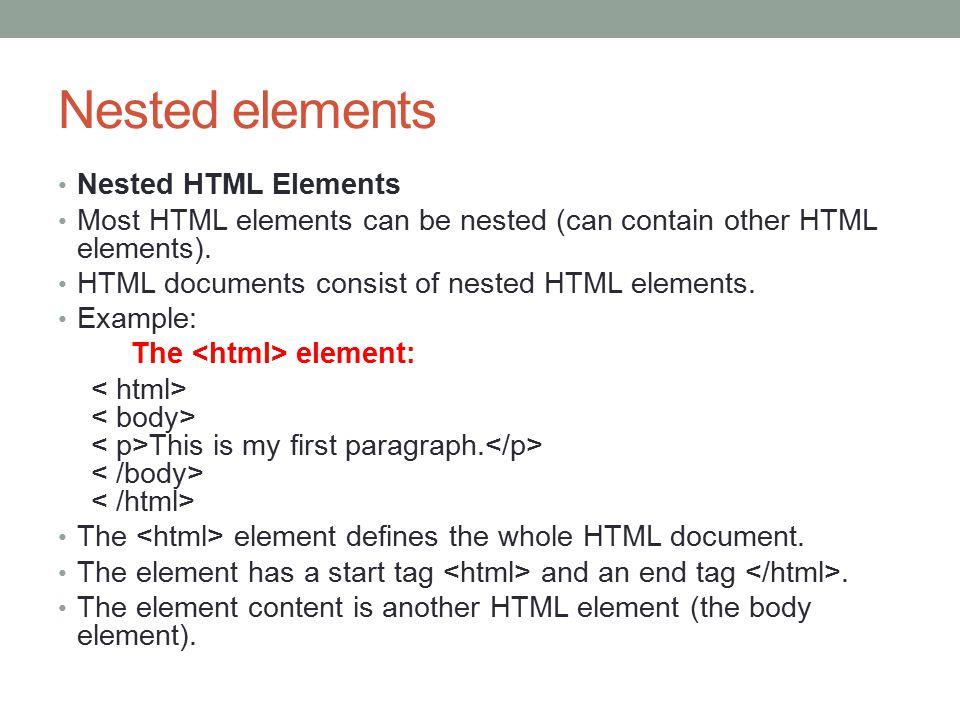Nested elements Nested HTML Elements