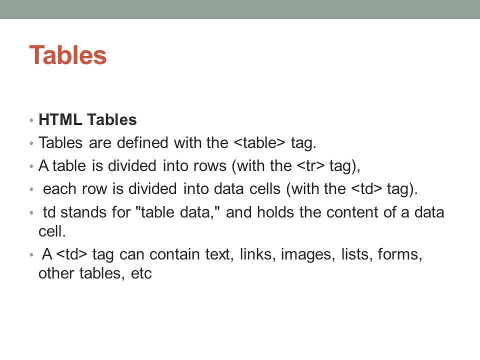 Tables HTML Tables Tables are defined with the <table> tag.