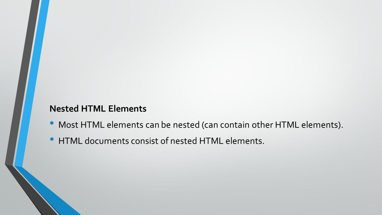 Nested HTML Elements Most HTML elements can be nested (can contain other HTML elements).