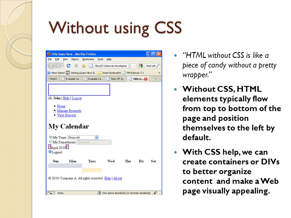 Without using CSS HTML without CSS is like a piece of candy without a pretty wrapper.