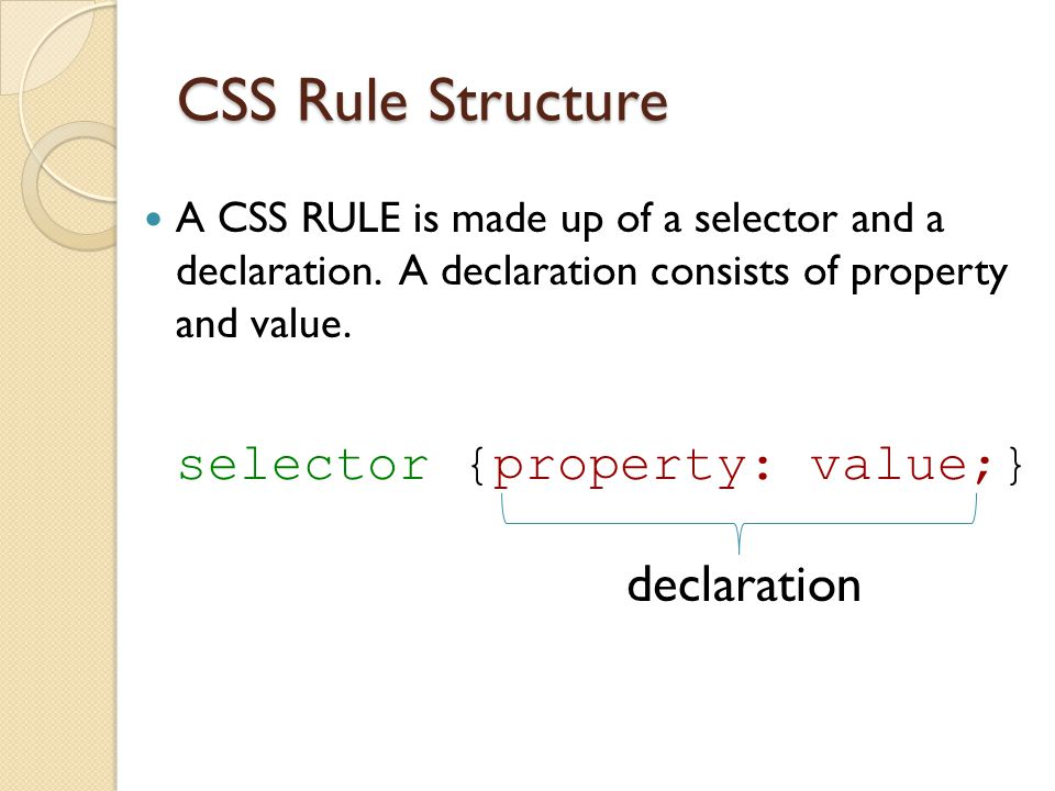 CSS Rule Structure declaration selector {property: value;}
