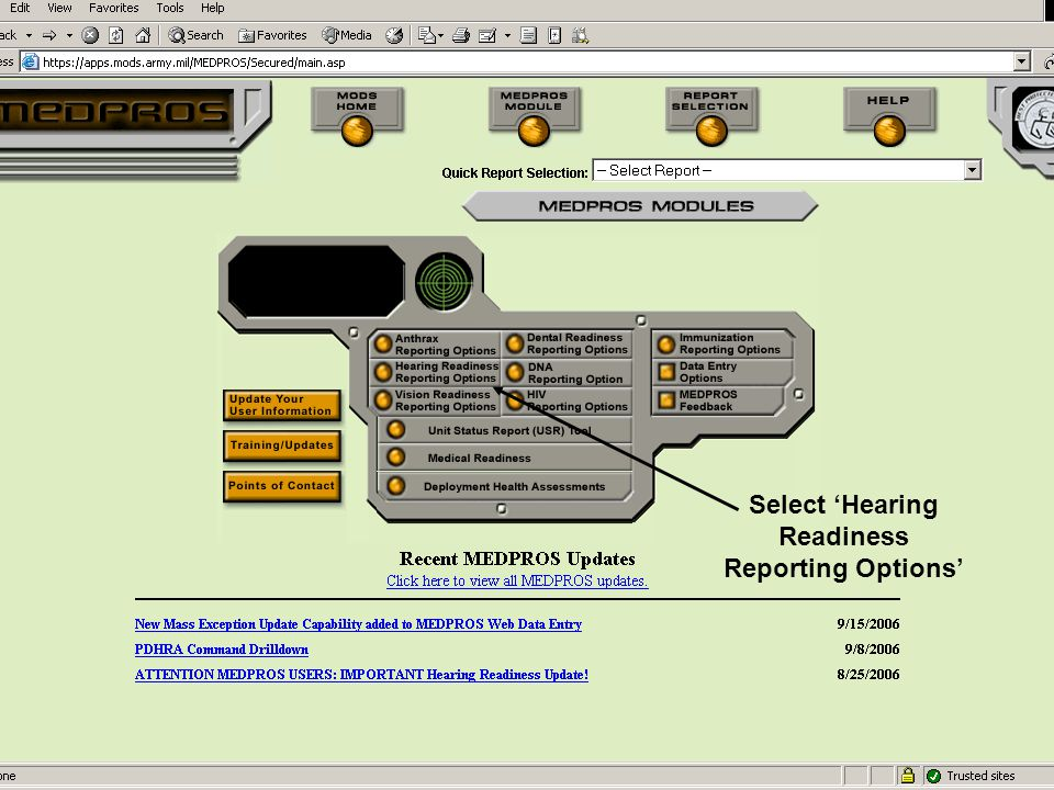 Select 'Hearing Readiness Reporting Options'