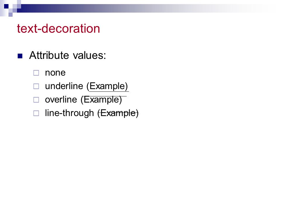 4 css style sheets ppt video online download for A decoration none