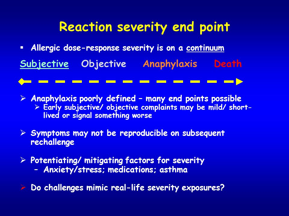 Reaction severity end point