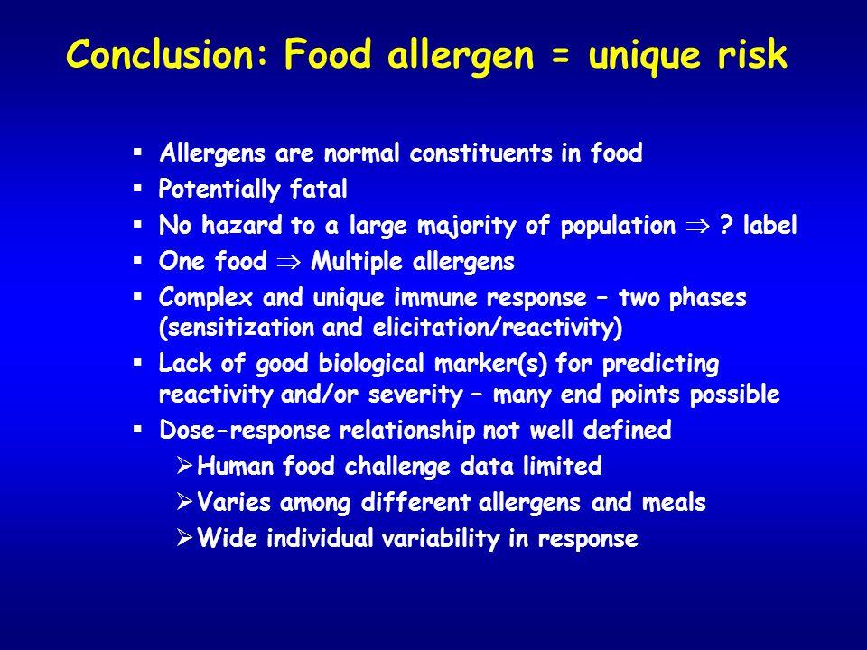 Conclusion: Food allergen = unique risk