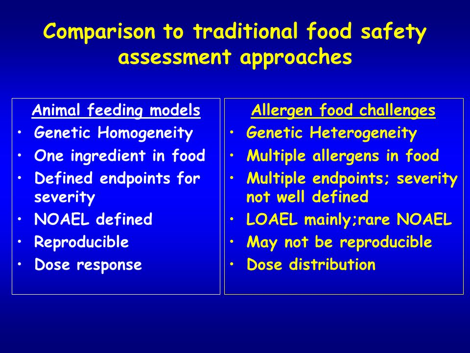 Comparison to traditional food safety assessment approaches