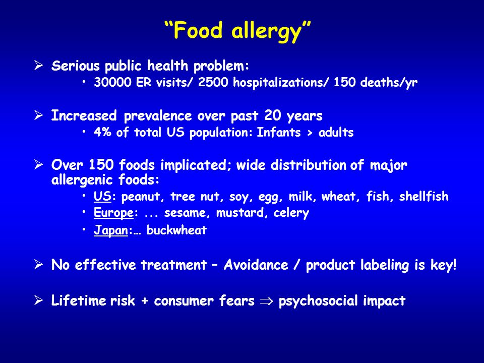 Food allergy Serious public health problem: