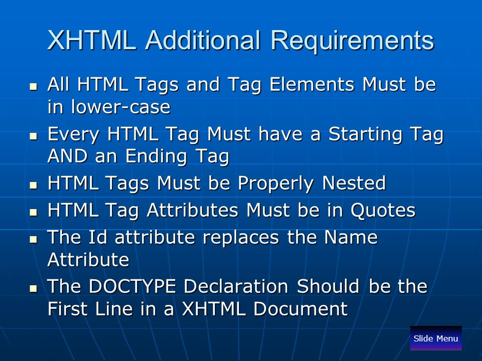 XHTML Additional Requirements