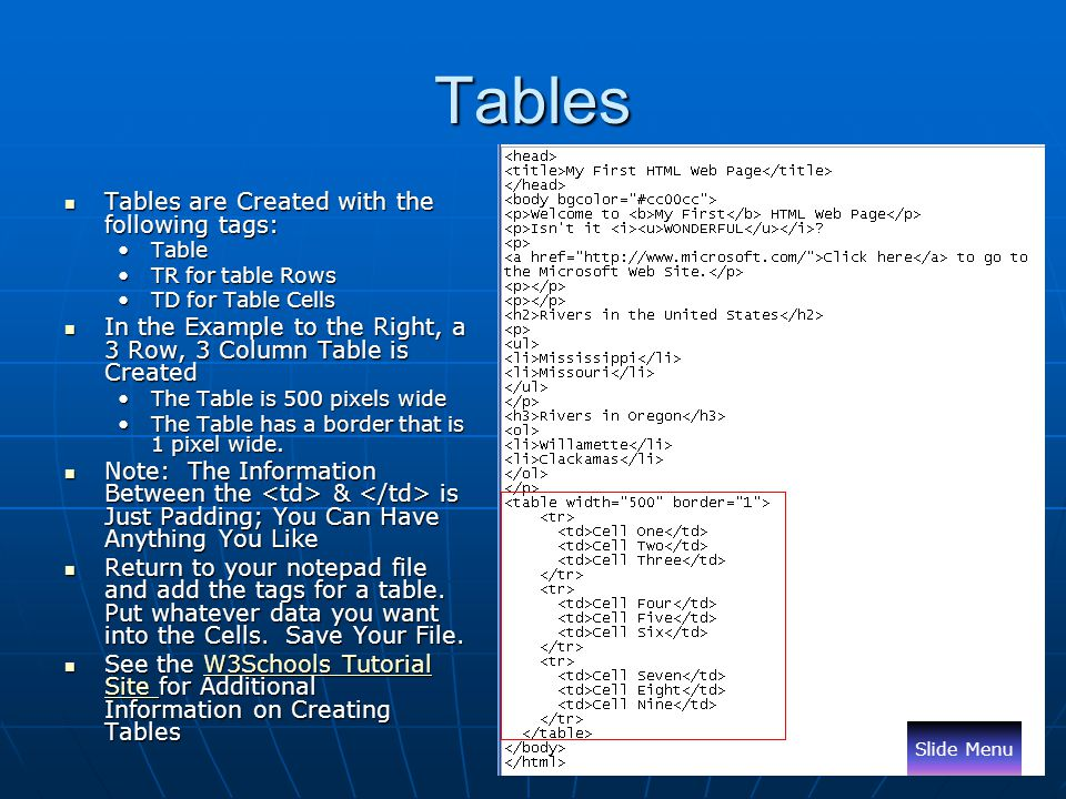 Tables Tables are Created with the following tags: